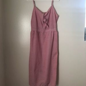 Striped Pink and White Midi Dress Size L